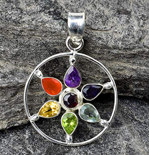 Chakra Pendant Natural Multi-Color Gemstones 925 Sterling Silver Jewelry Pendant