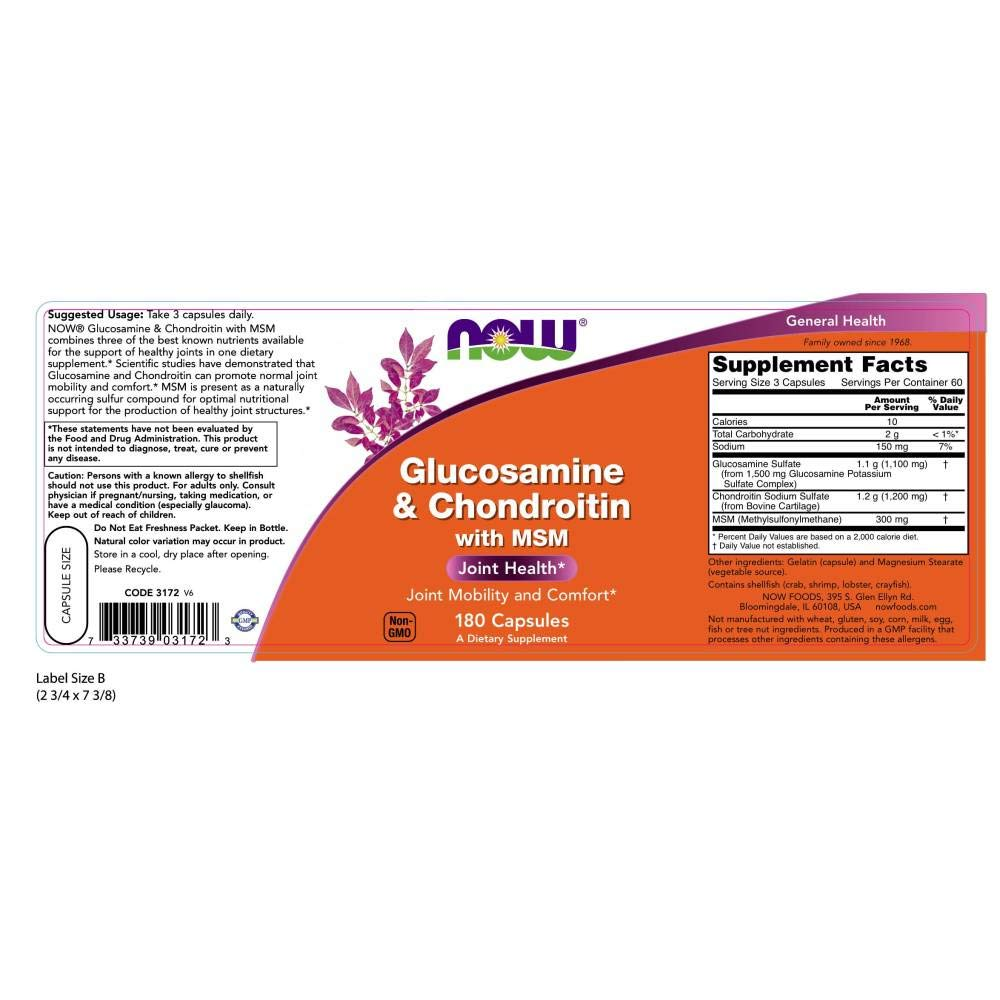 NOW® Glucosamine & Chondroitin with MSM, 180 Capsules by NOW Foods (Image #2)