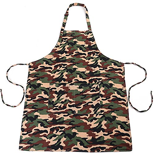 Camouflage Apron (Gold Armor Adjustable Plus Size Work Apron Cute with Pockets Kitchen for Women Men Camouflage Color)