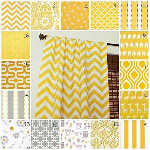 Curtain Panels Set Corn Yellow Drapes Corn Yellow Curtain Panels Gray Curtain Panels Nursery Curtains Set of 2 Choose Fabric and Size