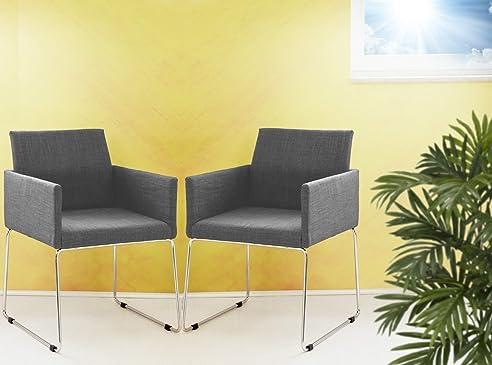 Konferenzstuhl grau  2er Set Konferenzstuhl Armlehnstuhl Stoffbezug in grau: Amazon.de ...