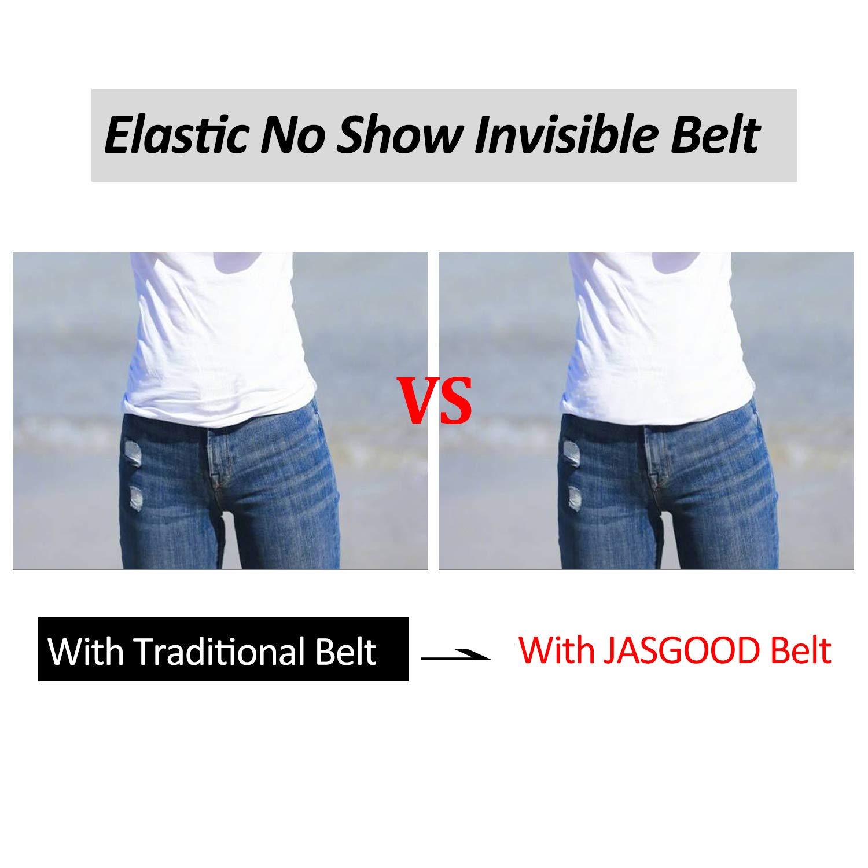 JasGood Unsichtbare Damen Stretch Gürtel No Show Elastic Einstellbare Web Gürtel Mit Flacher Schnalle Für Jeans Hosen Kleider