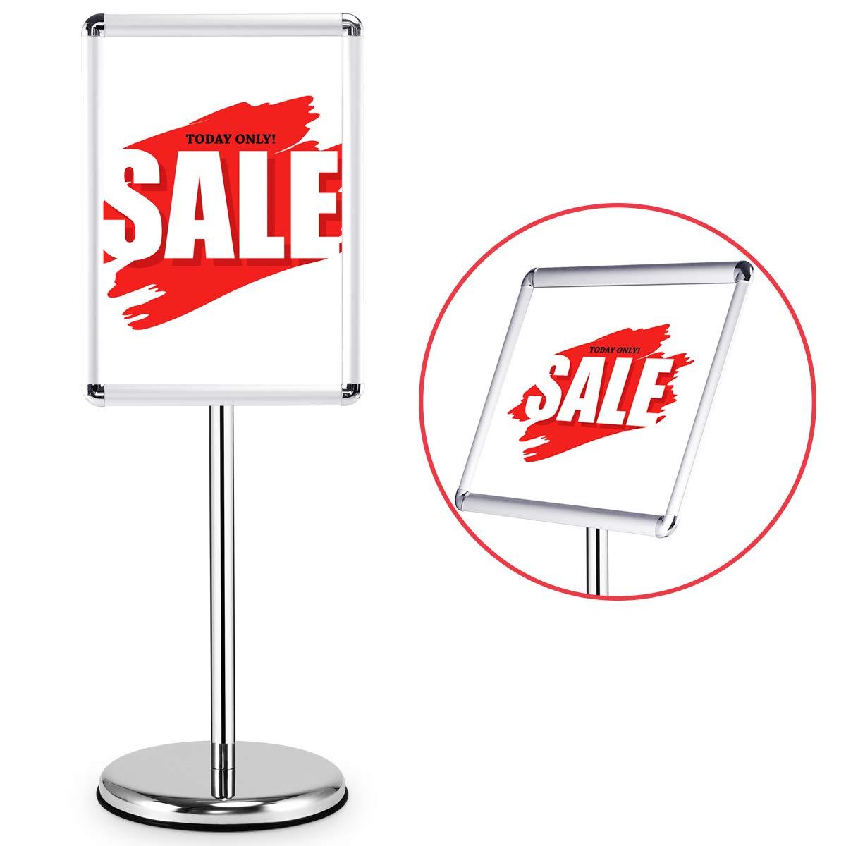 A3//A4 Poster Stand Espositore da Pavimento Supporto Men/ù Poster Pubblicit/à,Girevole e Regolabile in altezza,in acciaio INOX angolo retto, A3