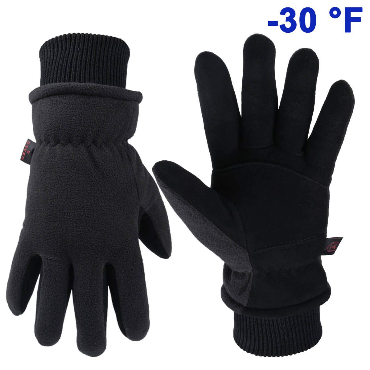 OZERO Insulated Work Gloves Deerskin Leather Winter Glove Thermal for Driving Cycling Skiing Hands Warm in Cold Weather for Men and Women Extra Large Black by OZERO