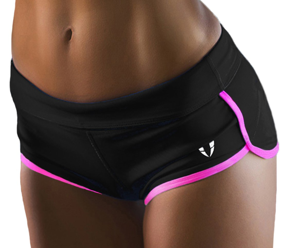 FIRM ABS Women's Seamless Compression Heathered Yoga Shorts Running Shorts Slim Fit Black/Pink Medium