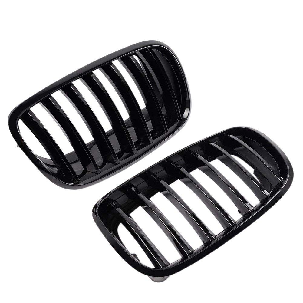 Majome 2 Pcs Noir Brillant Pare-Chocs Avant Rein Grille pour E70 X5 E71 X6 2007– 2013 …