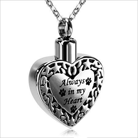 Always In My Heart On Heart Cremation Jewelry Pendant Keepsake Urn Necklace