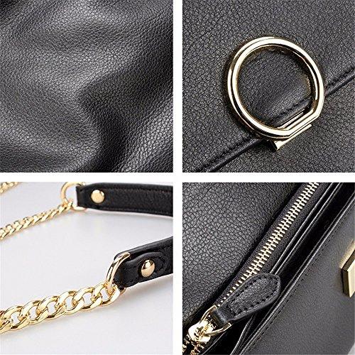 capacité embrayage Black grande chaîne de banquet cuir black sac ring en wqA7UXx