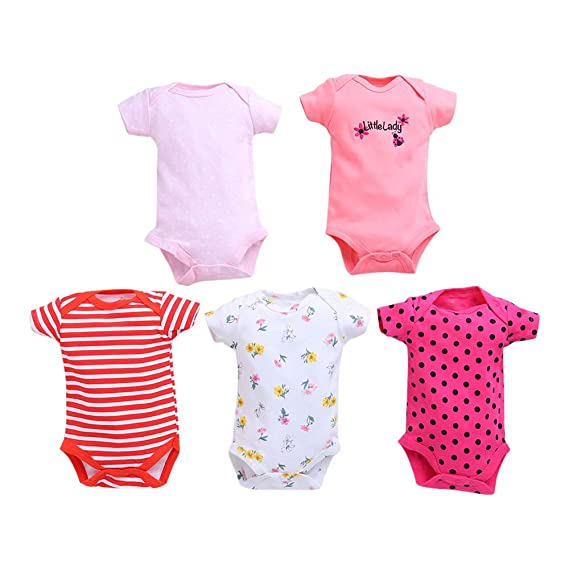 f463a56ef TEDMIMAK Boys and Girls Stripe Design Half Sleeve Onesies Pack of 5 ...