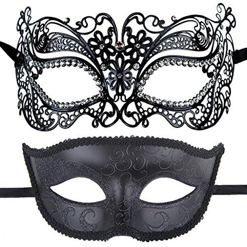 One Pair Couples Half Wedding Venetian Masquerade Ball Masks Party Costume Accessory (Venetian Half Mask)