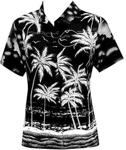 La Leela Likre Short Sleeve Button up Down Cruise Tropical Carribean Palm Tree Coconut Tree Silk Black - Black Deals Designer Friday