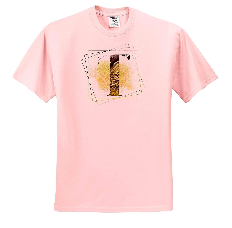 Monograms ts/_317594 Modern Yellow and Black Geometric Monogram T 3dRose Anne Marie Baugh Adult T-Shirt XL