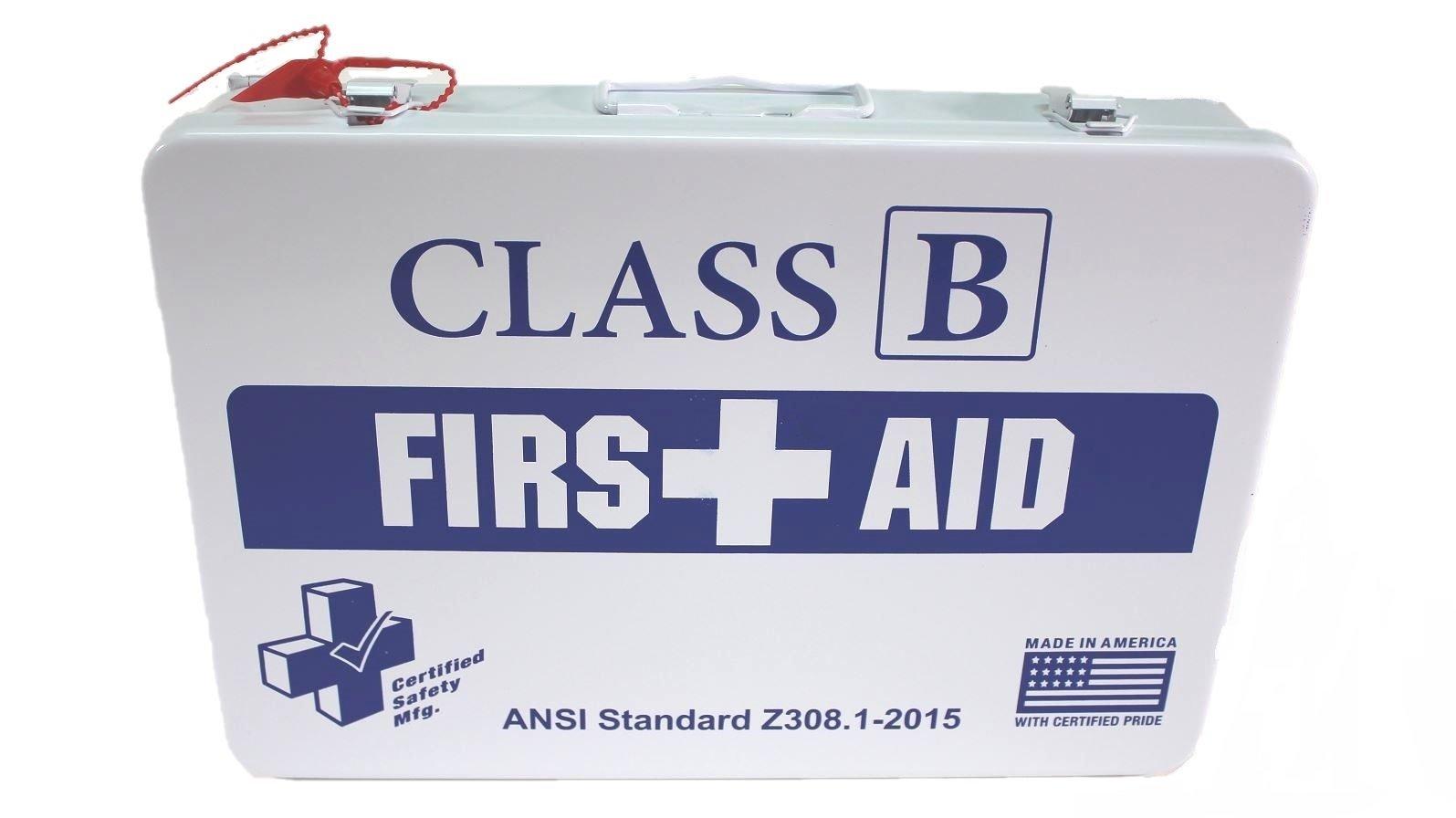 Certified Safety K615-019 36M Class B First Aid Kit, ANSI Z308.1-2015, Metal Case