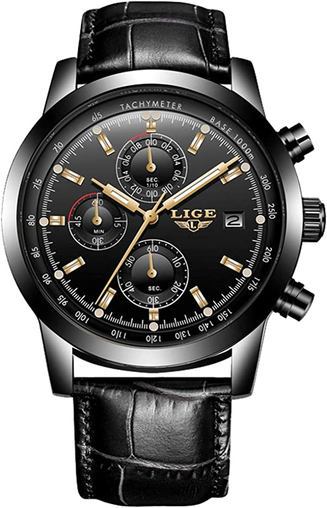 LIGE Relojes para Hombre Elegante Moda Deportivo Impermeable Cronógrafo Multifuntional Cuarzo analógico Acero Inoxidable Azul Dial para Hombre