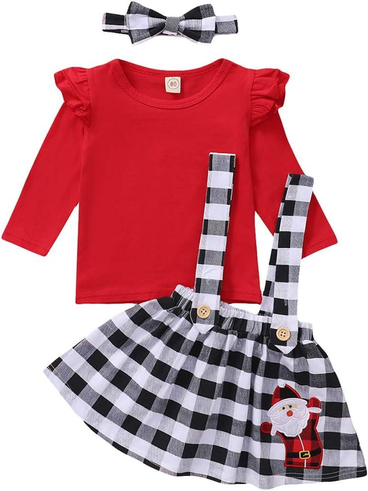 Baby Girls Christmas Outfit Ruffle Shirt+Plaid Suspender Skirt+Headband 3PCS Set