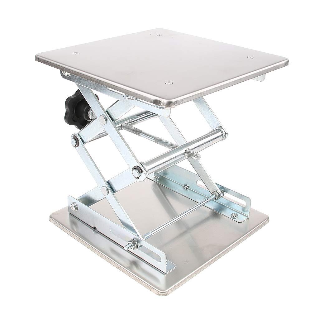 Homyl Lab Jack Stand Scissor Adjustable Lifting Platform 4inch/ 6inch/ 8inch to Choose - Silver, 20x20cm