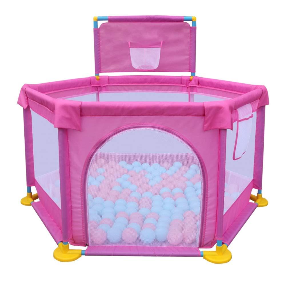 人気 Baby Play バスケットボールフープ付きプレイペン 安全フェンスアクティビティトイ ピンク 6パネル Baby プレイペン ボールは含まれません ピンク ピンク B07GJQP698 B07GJQP698, Bたんママ大好き定番!:ae77be98 --- a0267596.xsph.ru