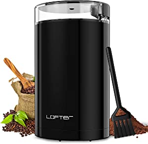 LOFTer Coffee Grinder, Electric Portable Spice & Nut Grinder with Stainless Steel Blade, Large Grinding Capacity, Portable & Compact, Fast Grinding for Coffee Beans, Seeds, Spices, Herbs, Grains, 150W, 15 Cups, Black