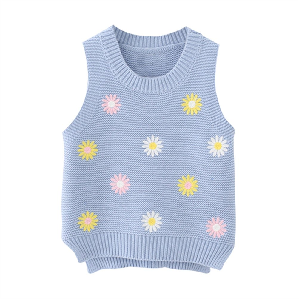 SPRMAG Kid Girl Stylish Embroidery Flower Knit Pullover Sweater Vest 4T Blue