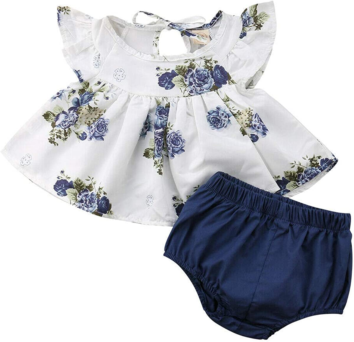 Newborn Baby 4 Piece Suit Set Top Blouse Floral Sleeveless Ruffle Dress  T-Shirt Short Pants Summer Clothes for Little Girls Casual Party Photo