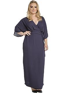 e9ae6e6e211 Standards   Practices Plus Size Modern Women Navy Chiffon Kimono Wrap Maxi  Dress