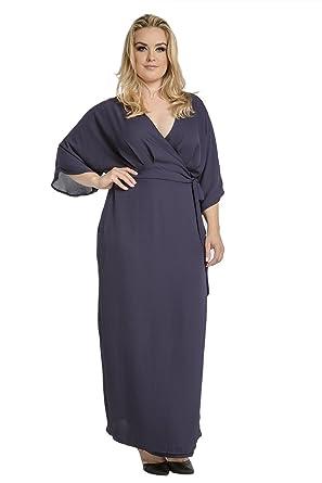812c476b19a Standards & Practices Plus Size Modern Women Navy Chiffon Kimono Wrap Maxi  Dress Size 1X Plus