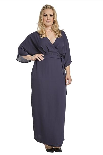Standards & Practices Plus Size Modern Women Navy Chiffon Kimono Wrap Maxi  Dress