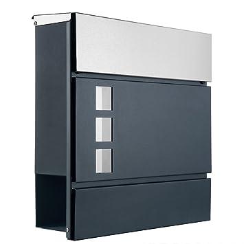 Designer Briefkasten Postkasten 111Deckel aus Edelstahl, Korpus in ...