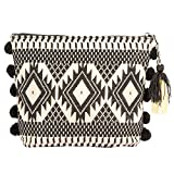 STRIPES Diwali Special Black / Off White Colour with Pom Pom and tassel Make Up Kit / Cosmetic Organiser /Jewellery Bag / Multi Purpose Bag/ utility Bag/ Toiletry bag/ clutch bag For Girls/ Women