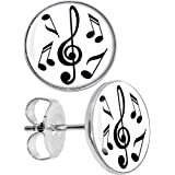 Body Candy Stainless Steel Black and White Music Notes Stud Earrings