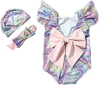 Tsyllyp Baby Girls Fashion Ruffle Swimsuit High Waist Bikinis Sets Bathing Suit Beach Swimwear