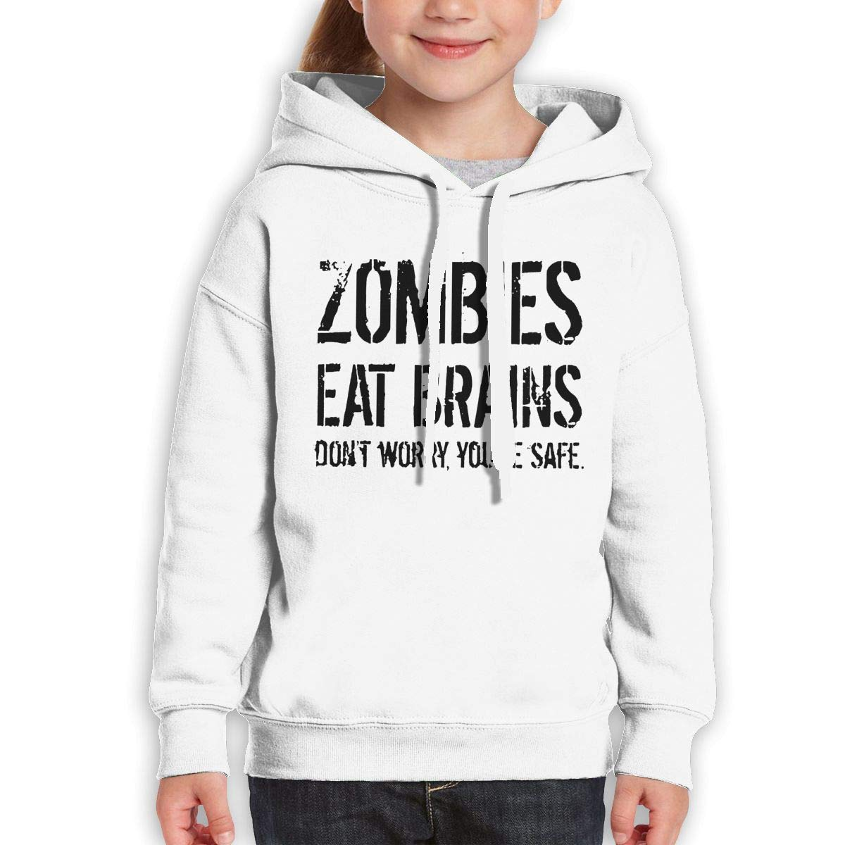 Boys Girls Zombies Eat Brains Dont Worry Youre Safe Teen Youth Hoody White M