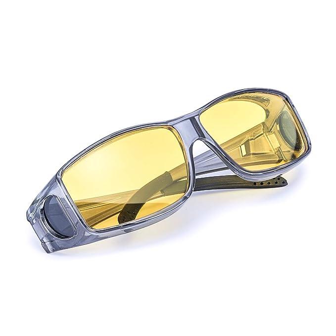 Myiaur Wrap - Around Gafas Nocturnas Conduccion Polarizadas de Noche Gafas para Usar Sobre Gafas Graduadas