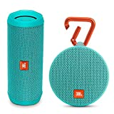 JBL Flip 4 Portable Waterproof Bluetooth Speaker and Clip 2 Waterproof Portable Bluetooth Speaker (Teal)