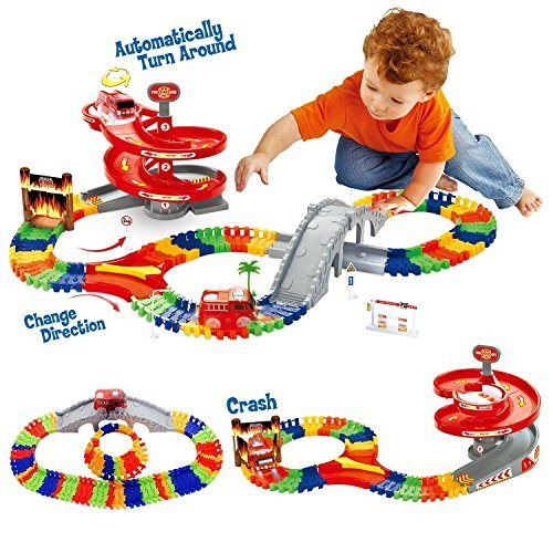GAMZOO Tracks Toy Set For 234 Years Old Boys And Girls With 96 PCS Flexible Race Track Fire Truck Vehicles Spiral Bridge Firehouse Toys