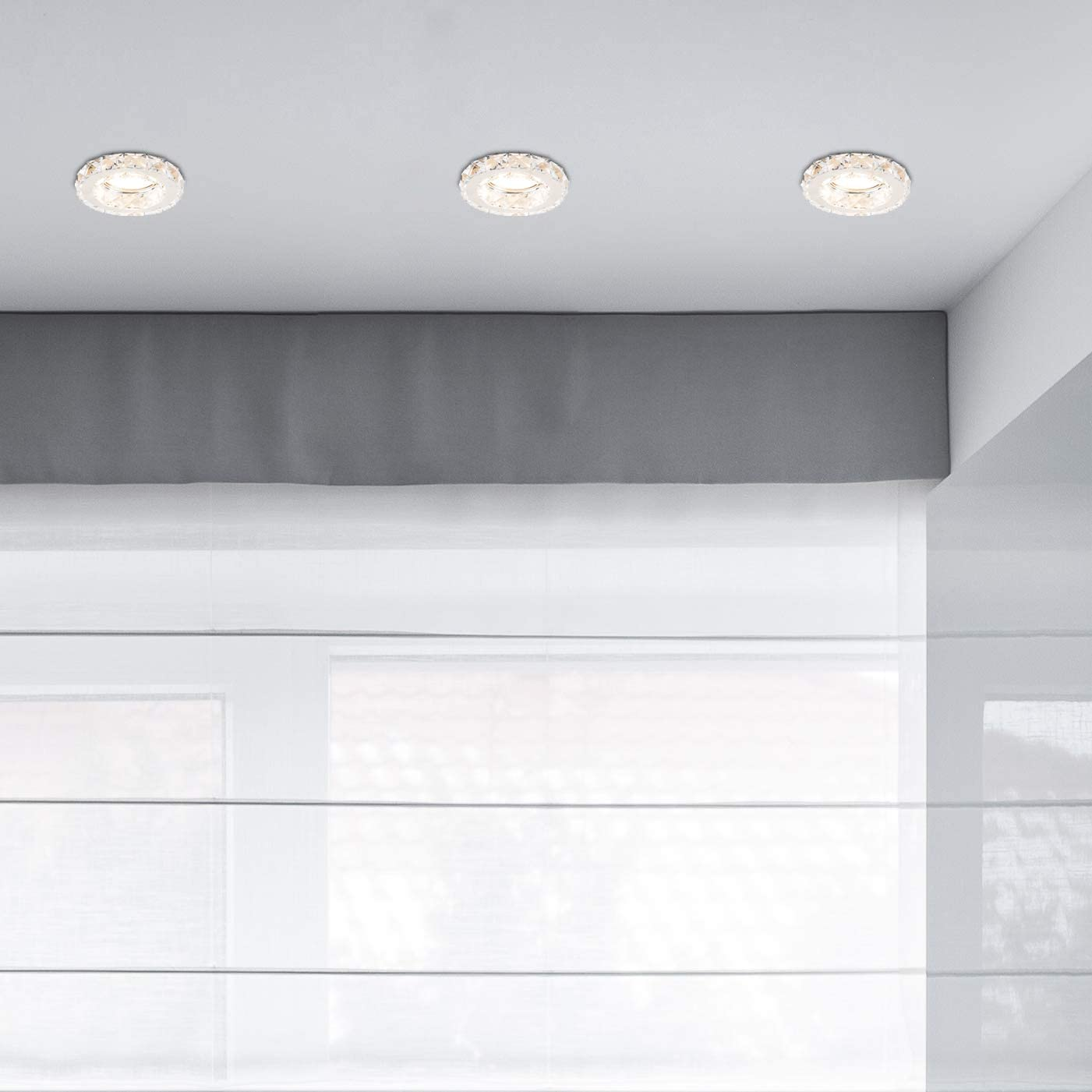 Modern Fire Rated Polished Chrome /& K9 Genuine Crystal GU10 Ceiling Downlights Pack of 10