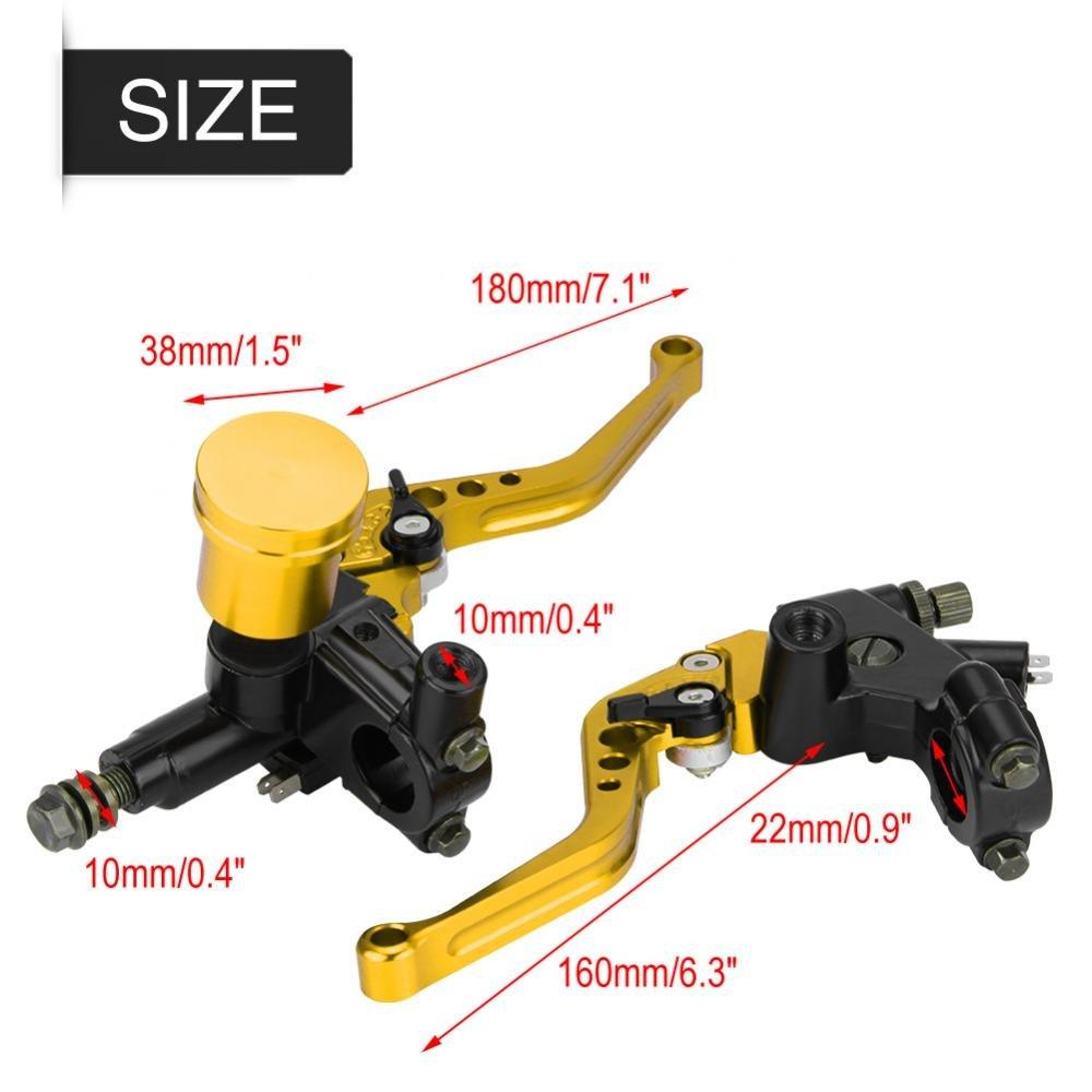 7.822mm Universale CNC del motociclo Cilindro del freno idraulico della frizione Leva del cilindro principale regolabile Yellow Cilindro principale del freno del motociclo di 1 paio