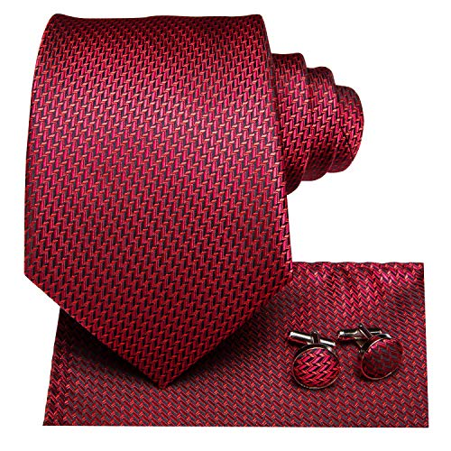 Dubulle Black and Wine Red Ties for Men Silk Necktie and Pocket Square]()