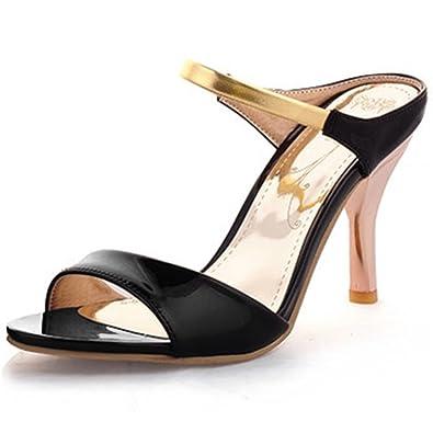 230f6451f880 Summerwhisper Women s Sexy Peep Toe Ankle Strap Work Shoes Slip on High Heel  Mule Sandals Black
