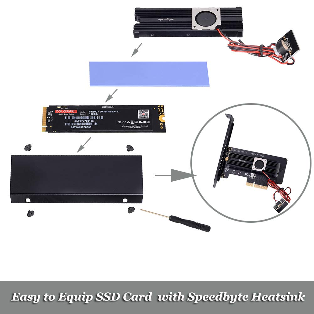 Speedbyte M.2 PCIe Adapter with M2 SSD Fan Cooler Heatsink. M2 NVME (M Key) 2280 2260 2242 2230 to PCIe 3.0 x 4 Adapter Host Controller Expansion Card Low Profile Bracket for Motherboard PCI Express