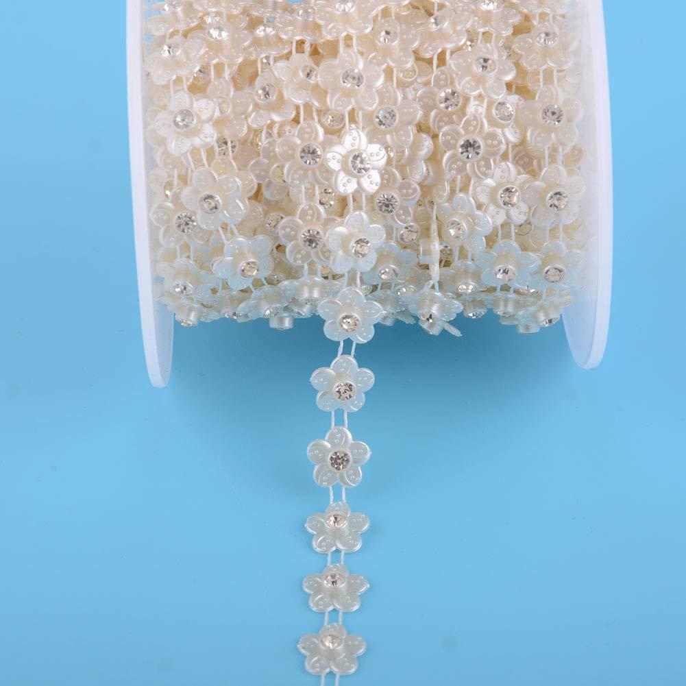 Eoohan Rhinestone Chain Trims Sewing Flower Shape Flatback Wedding Decoration Craft Beaded Beige Color 5 Yards 12mm 1//2Width with 5mm 3//16Rhinestone