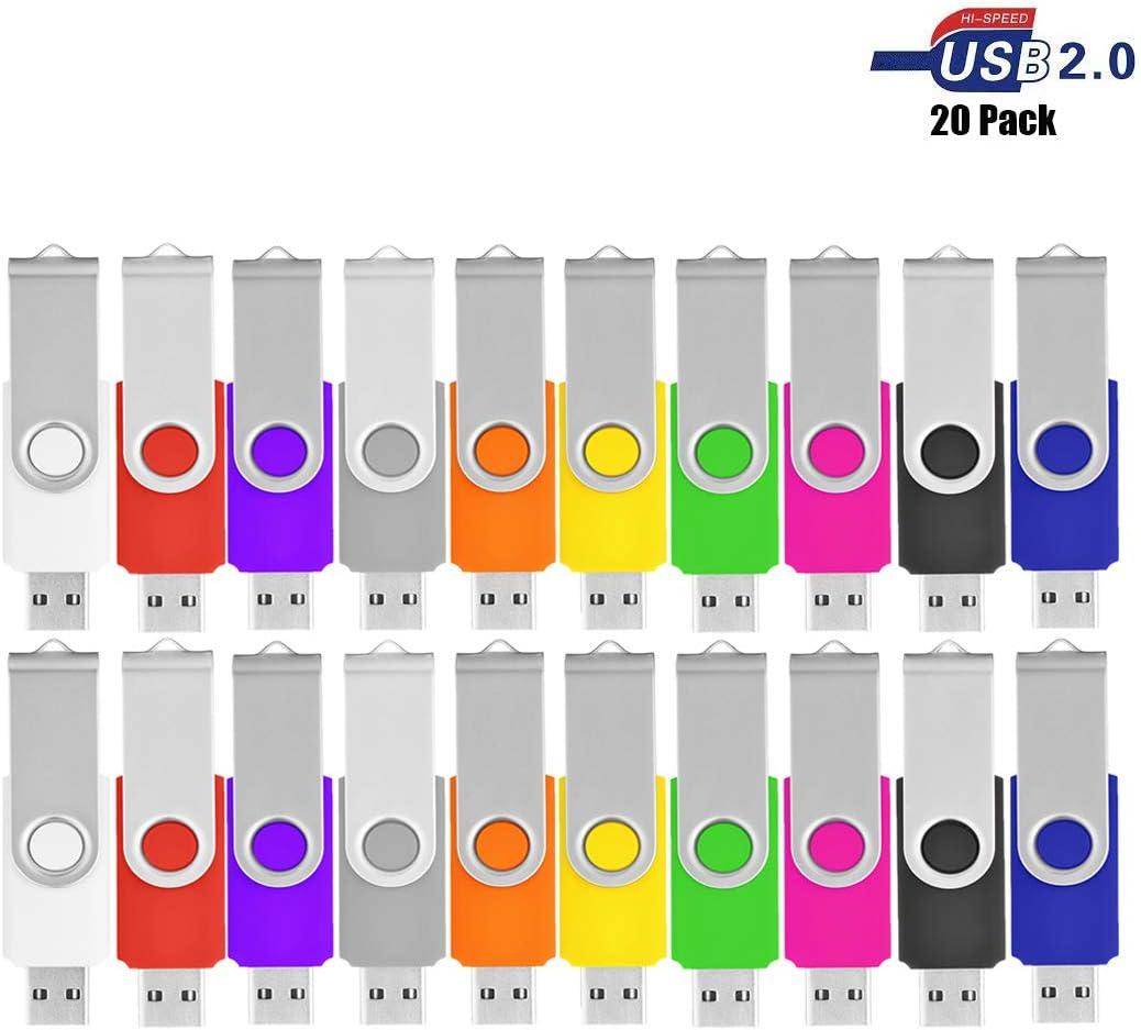 VIEKUU 10 & 20 Pack USB Sticks (2.0GB), Color Multicolor: Amazon ...