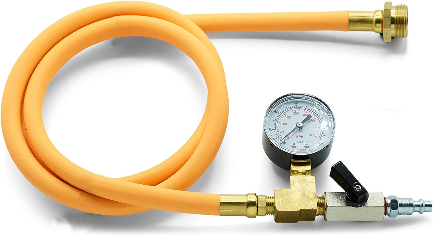 TOPRING Long Hose Air Compressor Water Blow Out Adapter with Pressure Gauge, RV Winterizing Kit with male garden hose connector