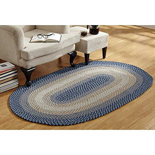 Better Trends Woodbridge Braided Wool Rug by (3'6 x 5'6) Blue 5' x 10', 5' x 7' Blue Braided Wool Rug