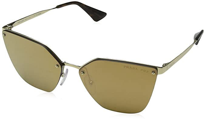 Womens 0PR68TS ZVN5N2 Sunglasses, Pale Gold/Darkbrownmirgoldpolar, 63 Prada