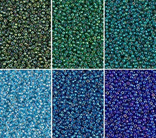Silver Lined AB Blue/Green Colors - 6 Color Mix Miyuki Round Rocaille Seed Beads Size 11/0, Each in 2