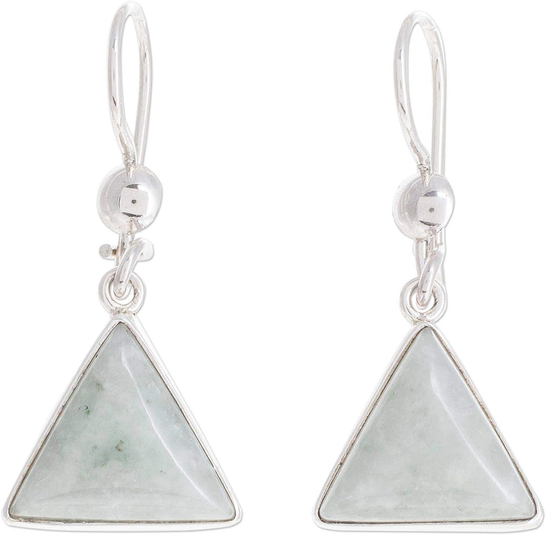 NOVICA Jade .925 Sterling Silver Dangle Earrings, Apple Green Triangle of Life'
