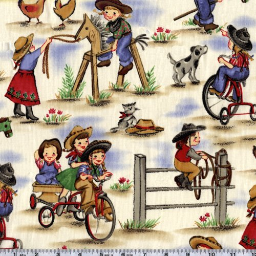 Michael Miller Lil' Cowgirl Blue Fabric By The - Fabric Cowgirl