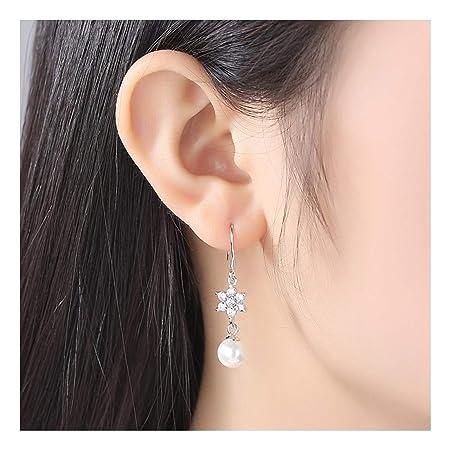 4deab5c94f68 MTWTM Perla Aretes Diamond Ganchos para La Oreja Sterling Silver Damas  Temperamento  Amazon.es  Deportes y aire libre