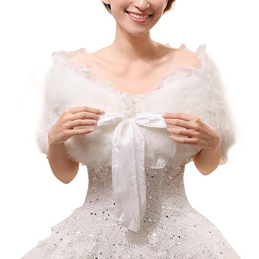 Bridal Wedding Party White Faux Fur Wrap Shawl Short Sleeve Cute